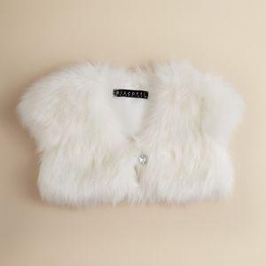 White Faux Fur Girls' Shrug
